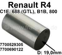 R4, cam follower (hollow version). Suitable for Renault R4. Engine: 845cc + 1108cc. Motor types: C1E, 688 (GTL), B1B, 800 (L, TL). Diameter: 19,0mm. Or. No. 7700529305 + 7700690122 - 80168 - Der Franzose
