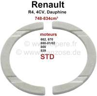 R4/4CV/Dauphine/R5, crankshaft thrust washer (axial clearance), standard dimension. Dimension: Inner diameter 44mm, outer diameter 55,6mm, 2mm thick. Suitable for Renault engine: 662, 680 702, 690, 839 706, 670, 800,B1B, 800 70. Capacity 603cc, 748cc, 782cc, 845cc. Suitable for Renault R4, 4CV, Dauphine, Dauphinoise, Juvaquatre, R5 (782cm³), Floride - 81074 - Der Franzose