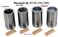 R4/R5, piston + liner (4 item). Suitable for Renault R4 (R1126, 2109, 2392). R5 (R1220). Engine: 839. Engine capacity: 782cm ³. Bore: 55,80mm. Piston pin: 16 x 46mm. Piston rings: 1,75 + 2.0 + 3,5mm. - 80092 - Der Franzose