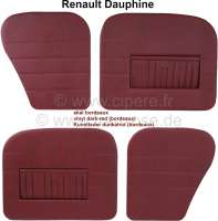Dauphine, door linings set (4 fittings). Color: Vinyl dark red (Bordeaux), with map bag. Suitable for Renault Dauphine. - 88207 - Der Franzose