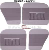 Dauphine, door linings set (4 fittings). Color: Vinyl grey, with map bag. Suitable for Renault Dauphine. - 88205 - Der Franzose