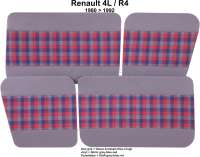 R4, Door lining (4 pieces), from vinyl + material. Color: grey-blue-red. Suitable for Renault R4, starting from year of construction 1980