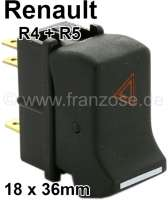 Rocker switch for the warning signal light. Suitable for Renault R4, starting from year of construction 1984. Renault R5. - 85043 - Der Franzose