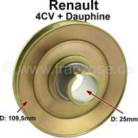 4CV/Dauphine, V-belt pulley. Suitable for Renault 4CV + Dauphine (1 series). Outside diameter: 109,5mm. (Inside diameter mounting: 25,0mm). - 81353 - Der Franzose