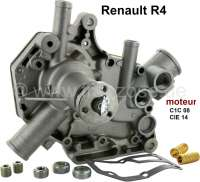 Water pump Renault R4. Suitable for R4 GTL (R112C). Engine C1C08. R4 (R1128), engine CIE14. Year of construction 1978 to 1986. R4 1.0 TL, of year of construction 1986 to 1990. - 82030 - Der Franzose
