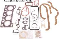 R8/Caravelle/Floride, engine gasket set, inclusive cylinder head gasket. Suitable for Renault R8, R8A, starting from year of construction 1962. Floride + Caravelle (R1130, R1132), of year of construction 1962 to 1963. Original manufactur. - 81116 - Der Franzose
