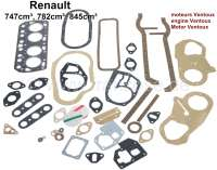Engine gasket set completely, inclusive cylinder head gasket (one for nearly everything). Suitable for Renault 4CV, 4L, Dauphine, Ondine, Floride. For Ventoux engines (3 crankshaft bearings) 662, 670, 690, 680, 839, 800. Engine capacity: 747cc, 782cc, 845cc. - 81114 - Der Franzose