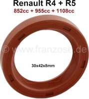 Shaft seal in front, for the camshaft. Suitable for Renault R4, R5. Engine capacity: 852cc, 955cc, 1108cc. Dimension: 30 x 42 x 8mm. - 81054 - Der Franzose