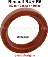 Shaft seal in front, for the camshaft. Suitable for Renault R4, R5. Engine capacity: 852cc, 955cc, 1108cc. Dimension: 30 x 42 x 8mm. Improved version from silicone. - 81343 - Der Franzose