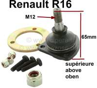 R16, ball and socket joint above, for Renault R16, starting from year of construction 9/1968. (R1151, 1152, 1153, 1154, 1156, 1157). On the left + on the right fitting. Pin height to area for screwing: 65mm. Thread height: 18mm. Thread measurement: M12 x 1,25. Or. No. 7701451902 Made in Italy - 83176 - Der Franzose