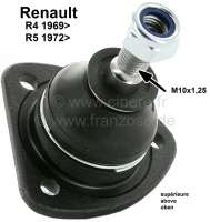 R4/R5, ball and socket joint above (suitable on the left + on the right ). For Renault R4 + R5. Installed starting from year of construction 1969. Pin amount to area for screwing: 55mm. Thread height: 17mm. Thread measurement: M10 x 1,25. - 83020 - Der Franzose