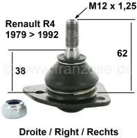 R4/R5, ball and socket joint lower on the right. Suitable for Renault R4 + R5. Installed from year of construction 1979 to 1992. Pin amount to area for screwing: 62mm. Thread height: 19mm. Thread measurement: M12 x 1,25. Or. No. 7701463687 - 83022 - Der Franzose