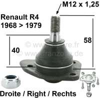 R4/R5/R6, ball and socket joint down on the right, for Renault R4 + R5, R6. Installed from year of construction 1968 to 1979. Pin height to area for screwing: 58mm. Thread height: 19mm. Thread measurement: M12 x 1,25. Or. No.: 7701450637 - 83155 - Der Franzose