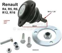 R4/R5/R6/R12, ball and socket joint above, for Renault R4, R5, R6. On the left + on the right fitting. Installed starting from year of construction 1969. Renault R16 Installed of year of construction 9/1965 to 8/1980. Renault R12 starting from year of construction 1969. Original quality. Pin height to area for screwing: 55mm. Thread height: 23mm. Thread measurement: M10 x 1,25. Or. No. Or. Nr. 0996064400 - 83220 - Der Franzose
