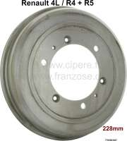 Brake drum front. Suitable for Renault R4, R5. Diameter: 228mm. Overall height: 63,5mm. Break area: 50mm. Or.Nr. 7700503027. Made in Europe. - 84046 - Der Franzose