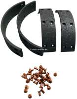 Brake shoe linings to rivet. Suitable in front + rear . For Renault 4CV, all years of construction. For drum diameters: 180mm. Lining-wide: 32mm. - 80015 - Der Franzose