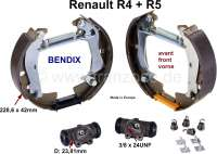 Brake shoes front (brake set, with 2x wheel brake cylinder + brake shoes). Brake system: Bendix. Suitable for Renault R4 + R5. Piston diameter: 23,8mm. Drum diameter: 228mm. Lining-wide: 42mm. Reproduction. Made in Europe. - 84027 - Der Franzose