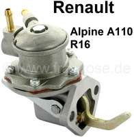 Gasoline pump. 2x gasoline line connection (6mm). Suitable for Renault Alpine A110 (1500cc), of year of construction 1966 to 1967. Renault R16 (1150, 1152, 1153), of year of construction 1968 to 06/1972. - 82833 - Der Franzose