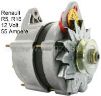 Generator, 12 V, 55 ampere. Assembly position: 60°. External battery charging regulator. Mounting holes: 8mm. Suitable for Renault R5, of year of construction 1972 to 1985. Renault R16 (1,5L), of year of construction 1975 to 1974. Plus Old part deposit 100 Euro. | 82457 | Der Franzose - www.franzose.de