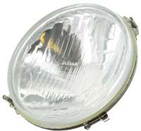 R4, headlamp round, without parking light. Concave (inward curved glass). Bulb socket: Double-filament bulb. Suitable for Renault R4. Reproduction from Europe, with