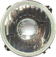 R4, headlamp approximately, without parking light. Concave (inward curved glass). Bulb socket: Double-filament bulb. Suitable for Renault R4. Reproduction from South America, without