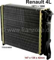 Heater radiator, suitable for Renault R4, from year of construction 1971 to 1990. Dimension: 147 x 138 x 42mm - 82140 - Der Franzose