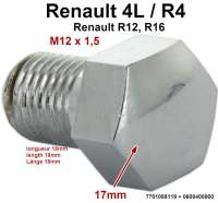 Wheel cover screw. Suitable for Renault R4 (1120, 1123, 1125, 1126, 2106, 2108). Renault R12 + R16. Thread: M12 x 1,5. Length: 18mm. Tool: 17mm. Or. No. 7701088119 + 0608400900 - 83402 - Der Franzose