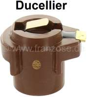 Ducellier, distribution arm (small version). Suitable for Renault R4, with Ducellier distributor. Rotor length: 31,0mm. Rotor amount: 26mm. Shaft diameter: 14,0mm. Setting up depth: 15,0mm. Or. No. 08 54 720,000, 77 01 019,885. Gutbrod No. 90.43.952. Suitable distributor cap: 82189. - 82088 - Der Franzose