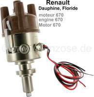 Ignition all-electronically. Suitable for engine 670. Renault Dauphine + Floride. Without vacuum connection! Straight distributer cap. Renew the distributers Ducellier, Femsa, Bosch. - 82472 - Der Franzose