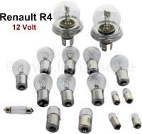 Bulb set double-filament bulb. 12 V. Suitable for Renault R4 (R1120, R1123, R1126, R2105, R2106, R2109, R2391, R2392). Consisting of: 2x of 14031 main headlights double-filament bulb! 6x of 14035 indicators in front - rear, reversing lamps. 2x 14037 braking taillight. 1x 14066 license plate light alternatively. 1x 14364 license plate light alternatively. 2x 14070 side light. 2x 14034 side light, also interior light. 1x 14038 interior light - 85423 - Der Franzose