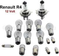 Bulb set H4. 12 V. Suitable for Renault R4 (R1120, R1123, R1126, R2105, R2106, R2109, R2391, R2392). Consisting of: 2x of 14030 main headlights H4! 6x of 14035 indicators in front - rear, reversing lamps. 2x 14037 braking taillight. 1x 14066 license plate light alternatively. 1x 14364 license plate light alternatively. 2x 14070 side light. 2x 14034 side light, also interior light. 1x 14038 interior light - 85424 - Der Franzose