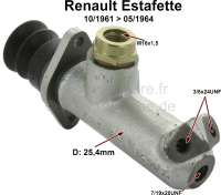 Estafette, master brake cylinder. Piston diameter: 25,4mm. Suitable for Renault Estafette R2130, R2131, R2132, R2133, of year of construction 10/1961 to 05/1964. Brake line connector: 2x 3/8x24UNF + 1x 7/19x20UNF. Thread brake fluid reservoir: M16x1,5. Made in France - 84288 - Der Franzose