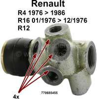 R4/R16/R12, brake power controller. 4x 3/8x24UNF brake pipe connections. Suitable for Renault R4, of year of construction 1976 to 1986. Renault R16 TL, of year of construction 01/1971 to 12/1976. Renault R12. Or. No. 770685455. Attention, there are also vehicles with 3x 3/8 + 1x 7/16 connection. For these purposes we have a suitable adapter (84372) in our delivery programme. - 84076 - Der Franzose