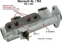 R4/R5/R6, master brake cylinder, dual circuit brake system. Brake system: Bendix (drum brake front). Suitable for Renault R4, R5, R6. Piston diameter: 20,64mm. Brake line connector: 3x M10x1 + 1x M12x1. Or. No. 7700617298 + 7701348468. Made in Europe. - 84072 - Der Franzose