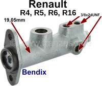R5/R6/R16, master brake cylinder. Brake system: Bendix. Piston diameter: 19,05mm. Suitable for Renault R4 (Fasa), R5, R6, R16. Brake line connector: 3x 3/8x24UNF. Made in Europe. - 84275 - Der Franzose