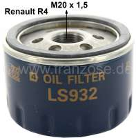 Oil filter (LS309). Thread: M20 x 1,5. Suitable for Renault R4 (112, 1128, S128, 2370, 210B, 239B). Engine: 1108cc. Installed from year of construction 06/1978 to 1990. Renault R5 + R6. - 81071 - Der Franzose