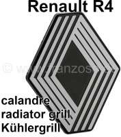 R4, Renault emblem for the synthetic radiator grill. Suitable for Renault R4. - 87802 - Der Franzose