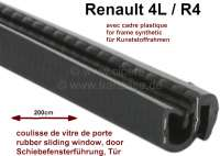 R4, sliding window guide, suitable for Renault R4, with synthetic frames! Length: 200cm. Wide U-profile: 13,5mm. Height U-profile: 14mm. Wide over all (with sealing lip) 20,0mm. Height over everything (with sealing lip): 16,7mm. - 87899 - Der Franzose