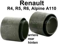 R4/R5, bonded-rubber bushing (2 fittings) for the bearing of the rear axle rocker. Suitable for Renault R4, R5, R6, Alpine A110. Inside diameter: 34mm. Outside diameter: 50mm. Length inside: 45mm. Length outside: 39,5mm. - 83034 - Der Franzose