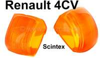 4CV, glass orange (2 piece) for indicator Scintex (for one side). Suitable for Renault 4CV. | 85399 | Der Franzose - www.franzose.de