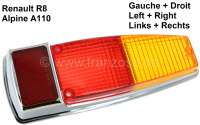 R8/A110, taillight cap chromium-plate, suitable on the left or on the right. For Renault Renault 8 + Alpine A110. - 85186 - Der Franzose