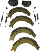 Brake shoes rear (brake set, with 2x wheel brake cylinder + brake shoes). Brake system: Bendix. Suitable for Renault R4 + R5. Piston diameter: 20,6mm. Drum diameter: 160mm. Lining-wide: 26mm. Original equipment quality. | 84030 | Der Franzose - www.franzose.de