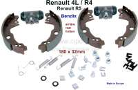 Brake shoes rear (brake set, with 2x wheel brake cylinder + brake shoes). Without levers for parking brake. Brake system: Bendix. Suitable for Renault R4, R5. Piston diameter: 22mm. Drum diameter: 180mm. Lining-wide: 32mm. Original equipment quality. Made in Europe. - 84035 - Der Franzose