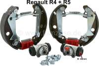 Brake shoes rear (brake set, with 2x wheel brake cylinder + brake shoes). Inclusive adjusting lever for the parking brake. Brake system: Bendix. Suitable for Renault R4, R5. Piston diameter: 22mm. Drum diameter: 180mm. Lining-wide: 32mm. Manufacturer: ATE - 84365 - Der Franzose