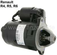 Starter motor (in the exchange), suitable for Renault R4 (112, R1128, S128, R2391, R2106). Renault R5 + R6, Estafette. 12 V. Power: 1,20KW. Mounting holes: 3. Assembly position: 57°. Plus Old part deposit: 60 Euro. | 82131 | Der Franzose - www.franzose.de