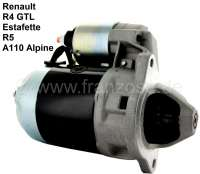 Starter motor, suitable for Renault R4 GTL (1100cc), of year of construction 10/1975 to 06/1993. Estafette of year of construction 10/1975 to 09/1980. Alpine A110 1300, of year of construction 01/1973 to 03/1978. Renault R5 (1,0 + 1.3L), of year of construction 01/1972 to 08/1984. Voltage: 12 V. Direction of rotation: In the clockwise direction. Securement: 3 hole. Teeth: 9. Assembly position: 45°. The starter motor is a new part. An old part return is not necessary! | 82133 | Der Franzose - www.franzose.de