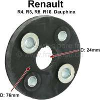 Flexible disk for the steering column. Suitable for Renault R4, R5, R8, R16, R18, Dauphine. Outside diameter: 76mm. Inside diameter: 24mm. Pitch center diameter: about 50mm. - 83091 - Der Franzose