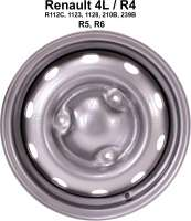 Rim 4,0x13 (reproduction). Suitable for Renault R4 (R112C, 1123, 1128, 210B, 239B). Renault R5, R6. Pitch diameter: 3x130mm. Insertion depth: 28mm. The rim has centrically no hole for the mounting of a wheel cover! Or. No. 7701349069. -1 - 83411 - Der Franzose