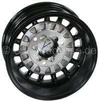 Wheel rim Alpine Design. Size: 5.5 x 13. Insertion depth: 25. Pitch diameter: 3 x 130. This wheel rim in Alpine Design, black with gloss-rotated front and rim well, fits on front and rear axle. Hub cap are provided. Body modifications not necessarily. The wheel rim is supplied with TÜV papers for Renault R4, R6 and all R5. Tire recommendation: 155/70 13 -2 - 83369 - Der Franzose