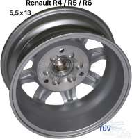 Wheel rim Minilite Design. Size: 5.5 x 13. Pitch diameter: 3 x 130. This wheel rim in Minilite Design, fits on front and rear axle. Hub cap are provided. Body modifications not necessarily. The wheel rim is supplied with TÜV papers for Renault R4, R6 and all R5. Tire recommendation: 155/70 13. By Renault R4 with Girling brake caliper, must be absolutely respected the free movement to the rim (or converted to Bendix caliper) -2 - 83413 - Der Franzose